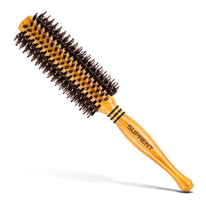 神なかなかどう?ロールブラシ/ヘアブラシ豚毛カール 木製櫛 スタイリングブラシ 巻き髪 静電気防止