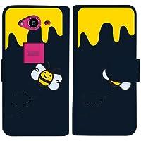sslink SH-01H AQUOS ZETA アクオス ゼータ 手帳型 ネイビー ケース ハチ ミツバチ ハニー ダイアリータイプ 横開き カード収納 フリップ カバー