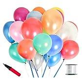 (ジンセルフ) JINSELF あんしん極厚風船 100個セット 弾力2倍 高品質 キラキラ光沢 誕生日 結婚式 パーティー 飾り 装飾 空気入れ カラフル