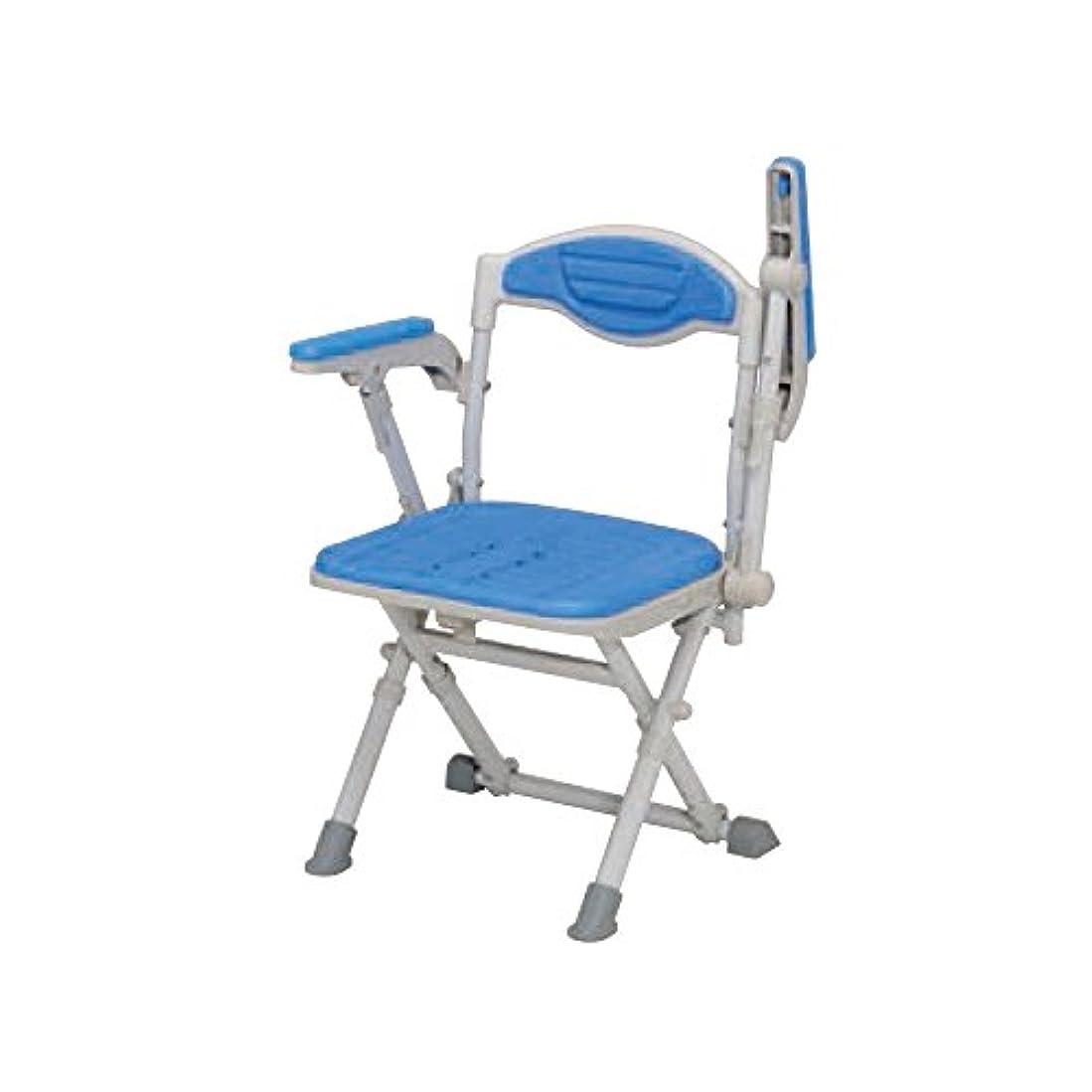 政策伝染病トレーニングウチエ 湯チェア16 肘あり ブルー UC125