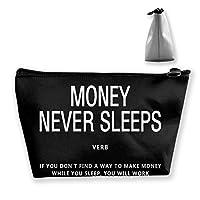 台形 化粧ポーチ お金は鼓舞しない OL 収納 小物入れ 小銭入れ ペンケース コイン財布 メイクボックス メイクポーチ コスメティックバッグ ウォレット
