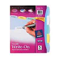 Avery : Translucent Multicolor Write-On Dividers, Five-Tab, Letter, Five Sets per Pack -:- Sold as 2 Packs of - 5 - / - Total of 10 Each