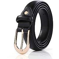 Womens Skinny Leather Belt Solid Color Pin Buckle Simple Waist Dress Belts - Golden Polished Belt Buckle