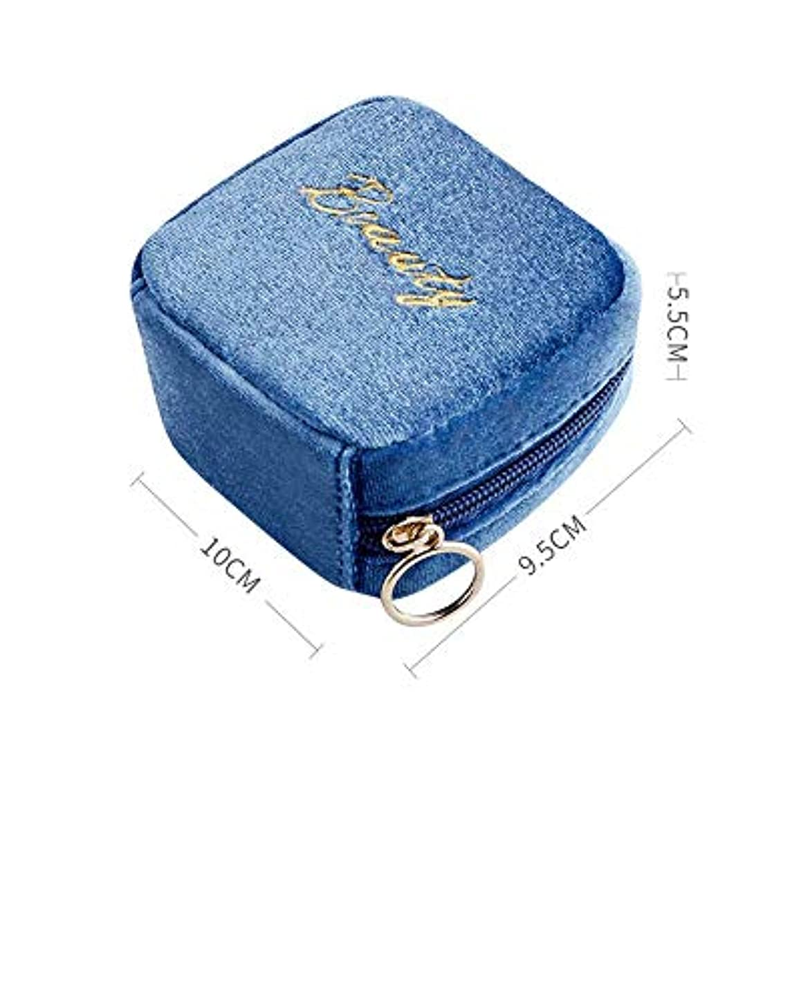 皮ステートメントビーチ化妆包、ポーチ、メイク道具収納袋(ブルー)化粧品袋