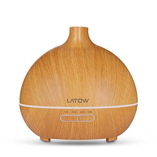 LATOW アロマディフューザー 超音波 卓上加湿器 木目調 タイマーライト led7色 空気清浄機 大容量 取扱証明証付き (木目調, 450)