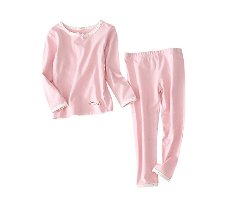(マソンナーニ)Masonanic キッズパジャマ 綿素材 女の子 ルームウェア  ピンク 長袖 上下 2点セット 部屋着 ナイトウェア  ガールズ 100-150cm (150cm, ピンク)