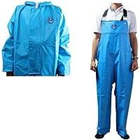 【上下セット販売】水産マリンレリー ライトブルー 上着パーカー・胸付きズボンセット 漁師専用レインスーツ (L)