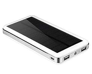 Aedon 超大容量20000mAh モバイルバッテリー 、ソーラーチャージャー 2USB出力ポート  地震、 旅行・ハイキングなどの必要品(電源が確保できなかった場合、ソーラーで充電可) (ホワイト)