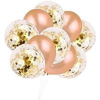 amosfun 10pcs 12インチPaillette Confetti Balloons Clear Balloons with紙吹雪ゴールドキラキラローズゴールドパーティー用品ベビーシャワーの装飾Sweet 16誕生日ウェディング