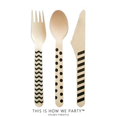 【Black 各10本入り】 木製 パーティーカトラリー パーティー用品 ウッドカトラリー (フォーク)