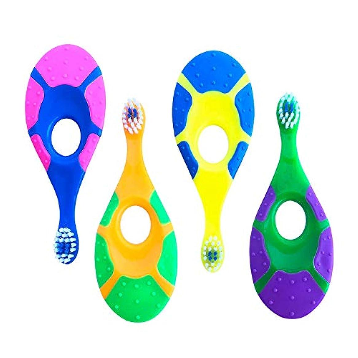 壁一緒に機関Nrpfell 4セットのベビー歯ブラシ - 信頼性 - 柔らかい剛毛 - 指ハンドル歯ブラシ 0?2歳用 - 子供の最初のセットランダムカラー