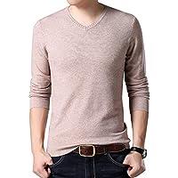Yeokou Men's Slim V Neck Winter Wool Cashmere Pullover Jumper Sweater