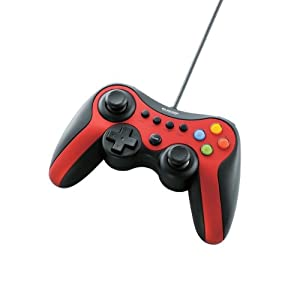 エレコム ゲームパッド USB接続 Xinput/DirectInput両対応 Xbox系12ボタン振動/連射 【ドラゴンクエストX 眠れる勇者と導きの盟友推奨】 レッド JC-U3613MRD