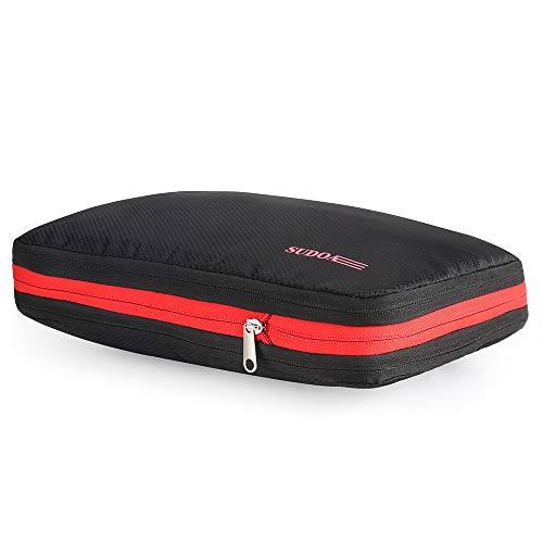 SUDOA トラベルポーチ 圧縮袋 旅行 収納ケース ファスナー圧縮で衣類スペース50%節約 軽量 出張 便利 (レッドブラック)