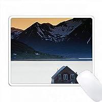 ノルウェー、ハシュタ、小規模農家と山々、北極夕日。 PC Mouse Pad パソコン マウスパッド