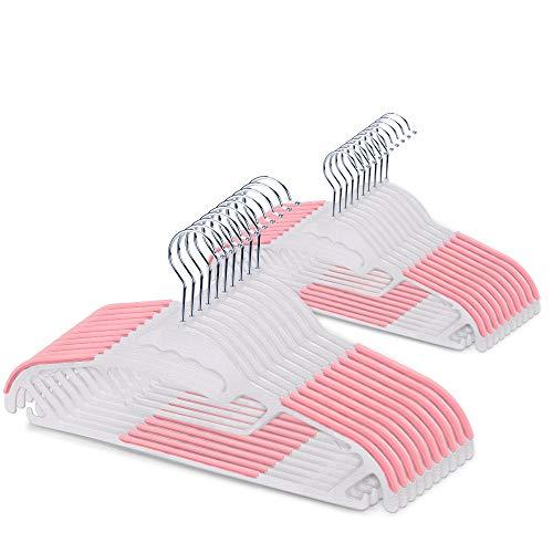 洗濯ハンガー 滑らない 20本セット 物干し 衣類ハンガー 型崩れ防止 360度回転 多機能 Quarice タイかけ付き ズボン スカート キャミソール ネクタイ スカーフ タオルなどに対応(ピンク)