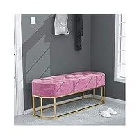 シンプルモダンアイアンオスマンベンチベッドルームベッドエンドスツールソファースツールベンチクロークレストベンチHENGXIAO(色:ピンク、サイズ:60cm)