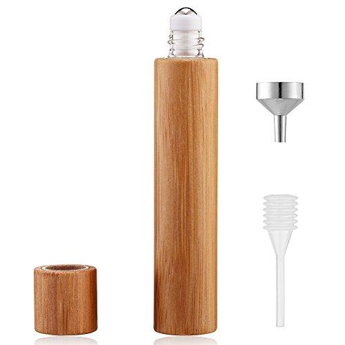 ロールオンボトル 香水詰め替えボトルセット(漏斗、スポイト付き) 漏れ防止 持ち運び 携帯用 竹とガラス材質 10ml