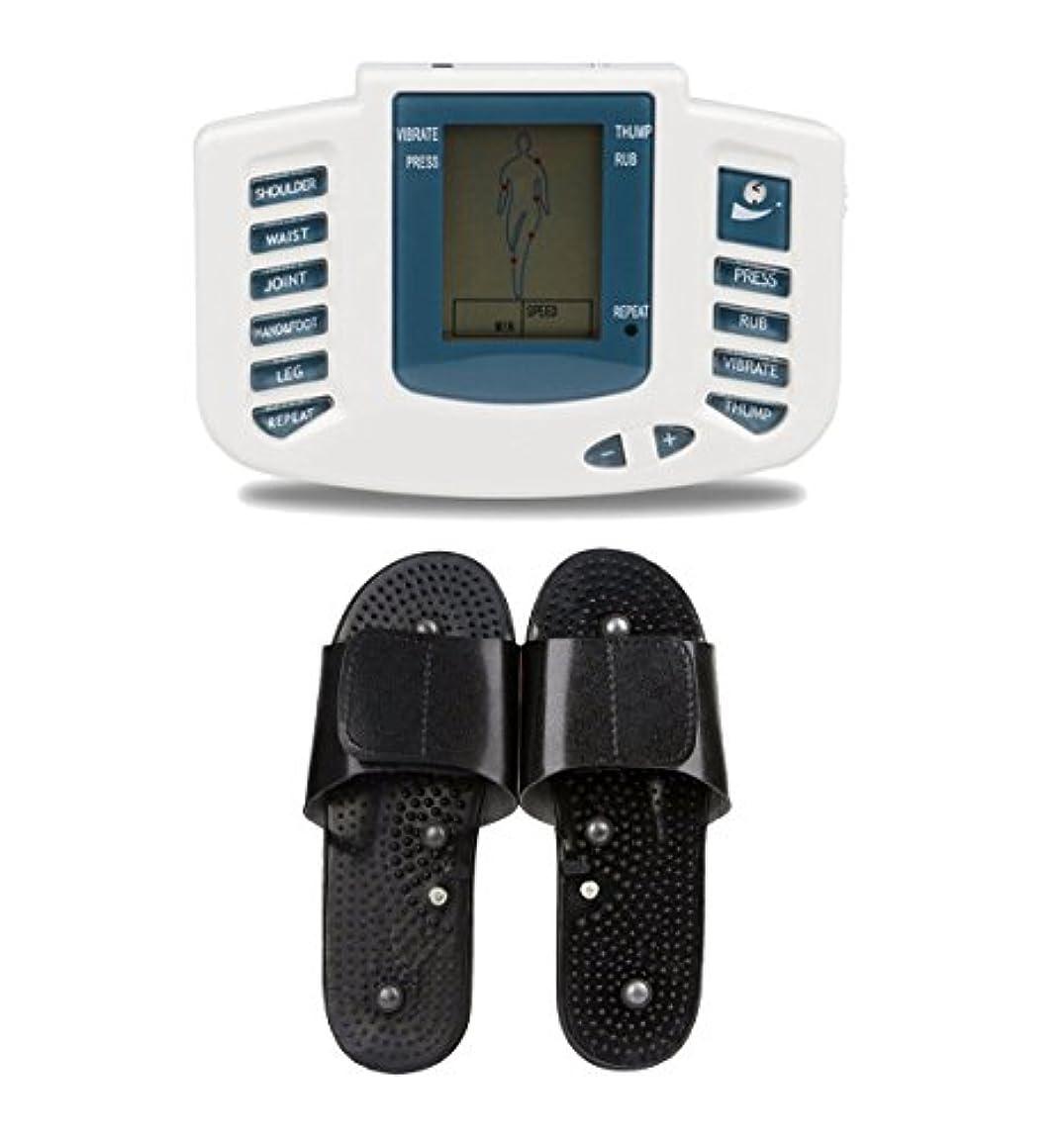 思慮深い遷移キャプテンUniSign tens machine 電子パルス 電気低周波治療器 電気tens 低周波治療器 リラックス 痛み緩和 スリッパ付き 16つパッド 10レベル