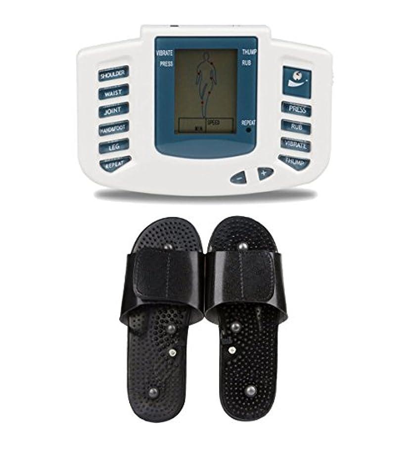 操縦するストレスの多いマキシムUniSign tens machine 電子パルス 電気低周波治療器 電気tens 低周波治療器 リラックス 痛み緩和 スリッパ付き 16つパッド 10レベル