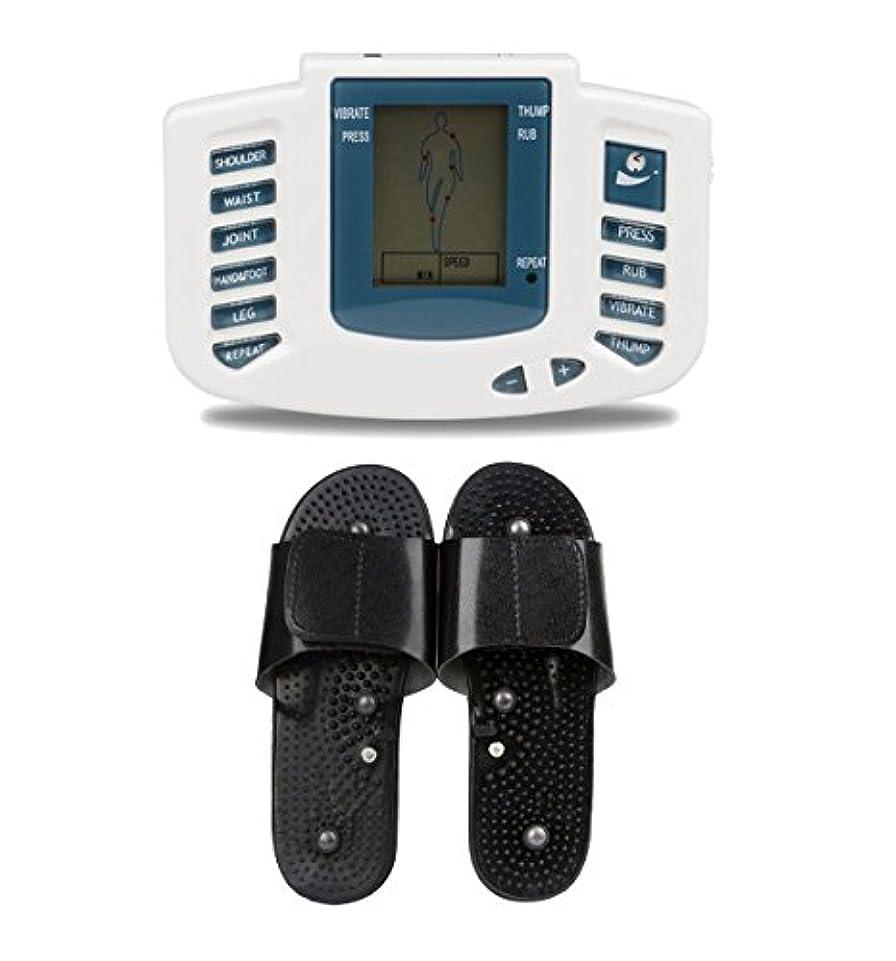 人里離れたシャンプースチュワードUniSign tens machine 電子パルス 電気低周波治療器 電気tens 低周波治療器 リラックス 痛み緩和 スリッパ付き 16つパッド 10レベル