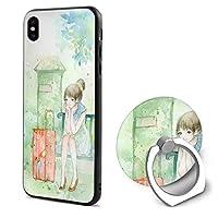 少女 (3) iPphone X携帯電話カバーリングブラケット IPhonexケース 人気 スタンド機能 ソフト 薄い 耐衝撃 おもしろい 個性 ストラップホール おしゃれ