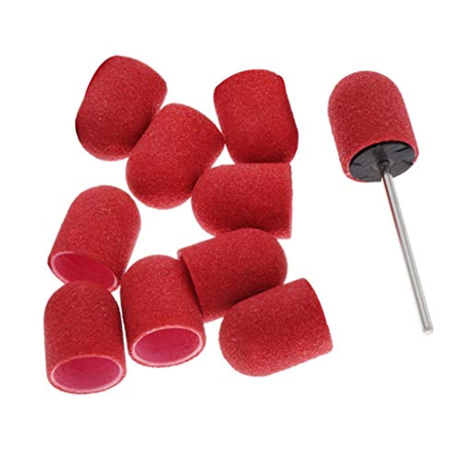 力強いシール賃金SM SunniMix ネイルアート マニキュア サンディングバンド ネイルポリッシュ研磨 サンディングリングキャップ 全5カラー - 赤