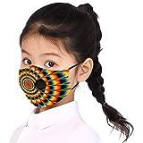 2PCs Reusable Kids Face Masᴋs with Breathing Valves, Tie-dye Print Cute Face Masᴋs, Washable Fashion Dustproof Anti-haze Makkalensau Protective Motorbike Bandanas, Wear for School Desk Activities