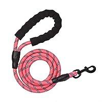 犬の鎖ペットロープの鎖 - 強力な犬の鎖 - 頑丈な犬の鎖 - 厚手の耐久性のあるナイロンロープ - 長さ5フィートのソフトハンドルと軽量トレーニングリーシュ - 小型中大型犬用(ローズ)