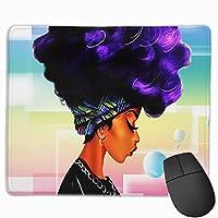 コンピューターオフィスゲーム、インチの紫色の髪のデザインファッションアフリカ民族女性とかわいい大きなマウスパッド