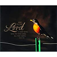 Dicksons Sing to The Lord with Perched Bird Blurred 栗色 木製ウォールサイン飾り額
