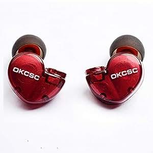 OKCSC D3 カナル型イヤホン ハイブリッドイヤホン ヘッドセット ヘッドホン MMCX対応 ケーブルなし レッド