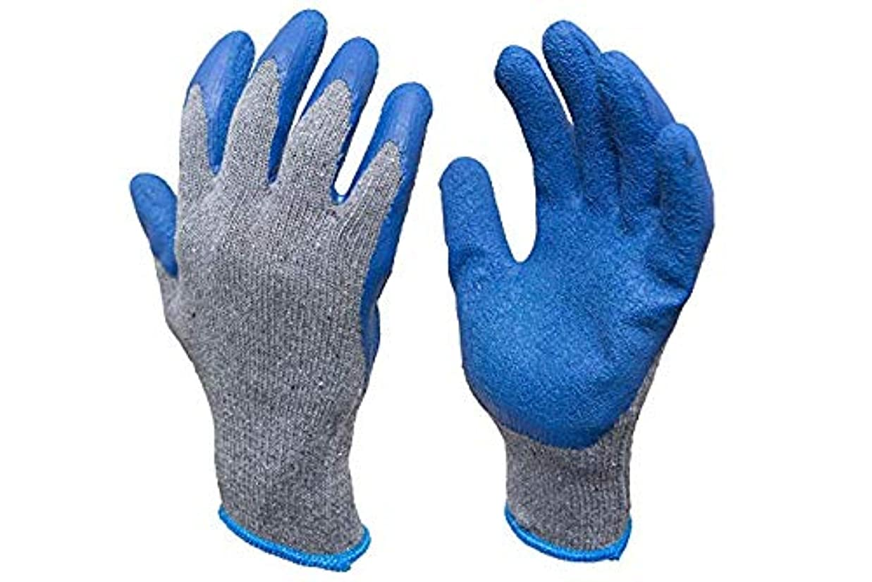 ロードされた引数優雅なニット作業建設のためにコーティングされた手袋、テクスチャゴムラテックス、12ペア、男子大