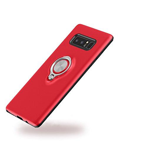 SAMSUNG Galaxy Note 8 ケース おしゃれ 2重構造 衝撃吸収 スマホケース リング付き 360度回転 車載ホルダー対応 ギャラクシーノート 8 ケース 薄型 軽量 携帯ケース 高級感 手触り良い SC-01K / SCV37 専用 (Samsung Galaxy Note8, レッド)