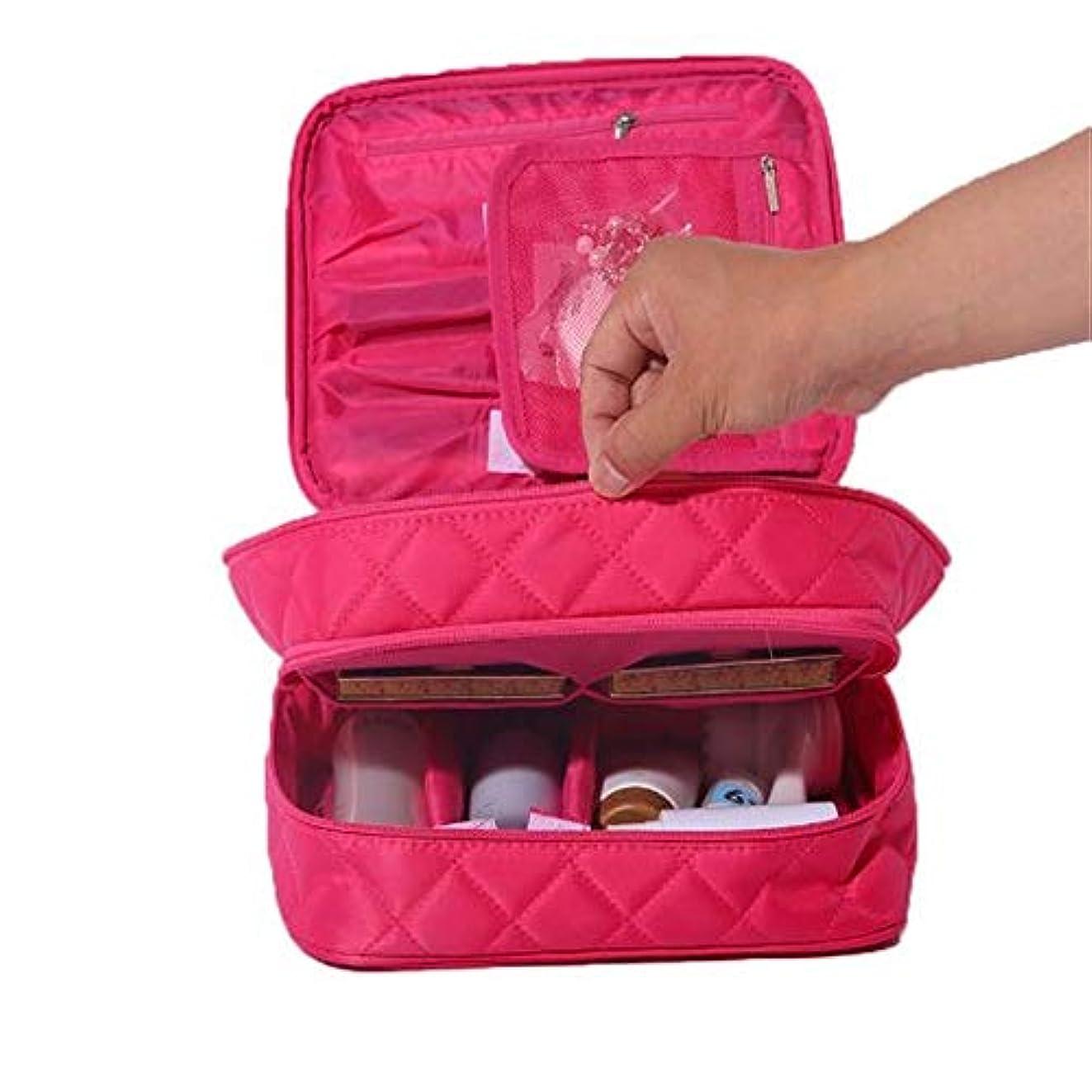 期待ピッチャー謝る化粧オーガナイザーバッグ ポータブルトラベルレディース菱形化粧品バッグナイロンパーティション化粧ケースダブルオープンウォッシュストレージバッグミニ化粧バッグ。 化粧品ケース (色 : 赤)