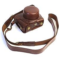 Style+ Nikon ニコン J5(10-30mmレンズ)専用 ストラップ付き カメラケース 高級合皮レザー ケース セパレート式 装着したまま 電池交換 三脚設置 ボディケース (ダークブラウン)