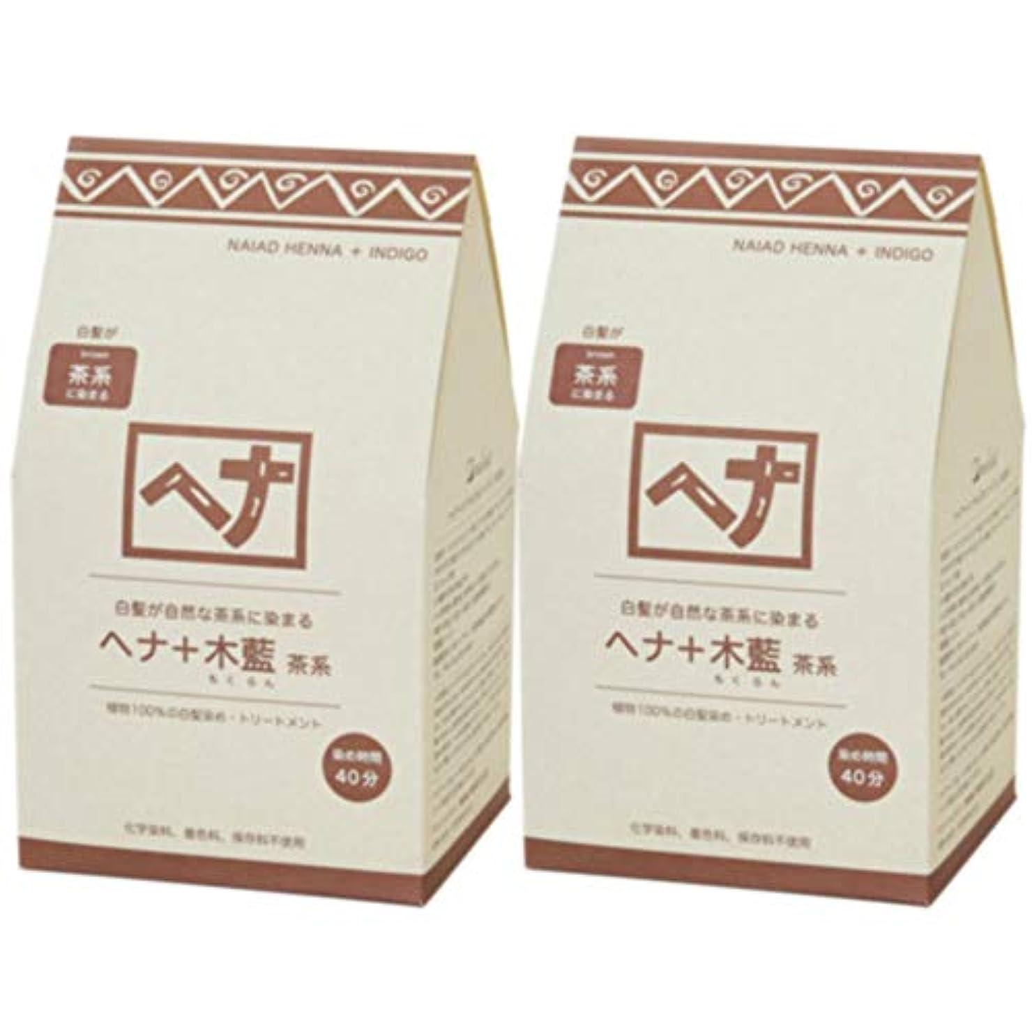 ナイアード ヘナ+木藍 茶系(新色) 400g◆2個+【ヘアキャップ&耳キャップ 】セット