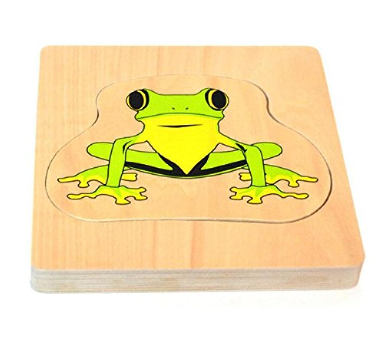HuaQingPiJu-JP 教育木製のマルチレイヤーパズルアーリーラーニングの数字の形の色の動物のおもちゃ子供のための素晴らしいギフト(カエル)