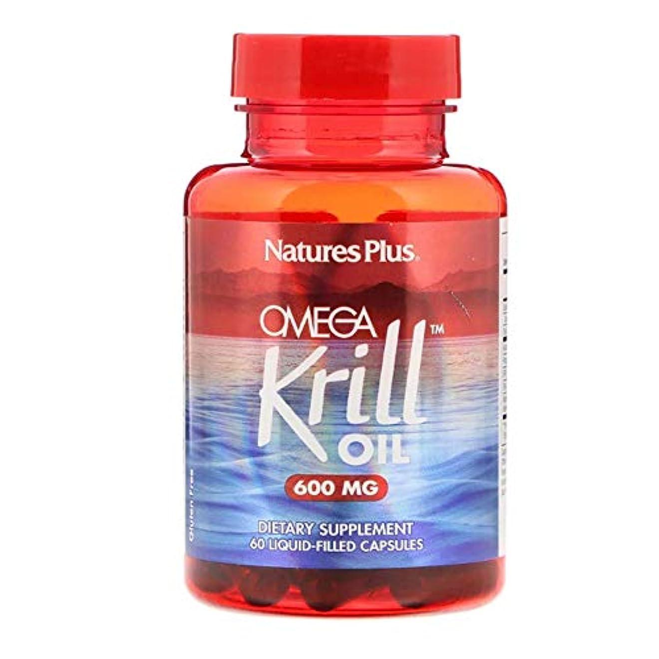 動的ワインちょうつがいNature's Plus オメガ クリルオイル 600 mg 60 液体カプセル 【アメリカ直送】
