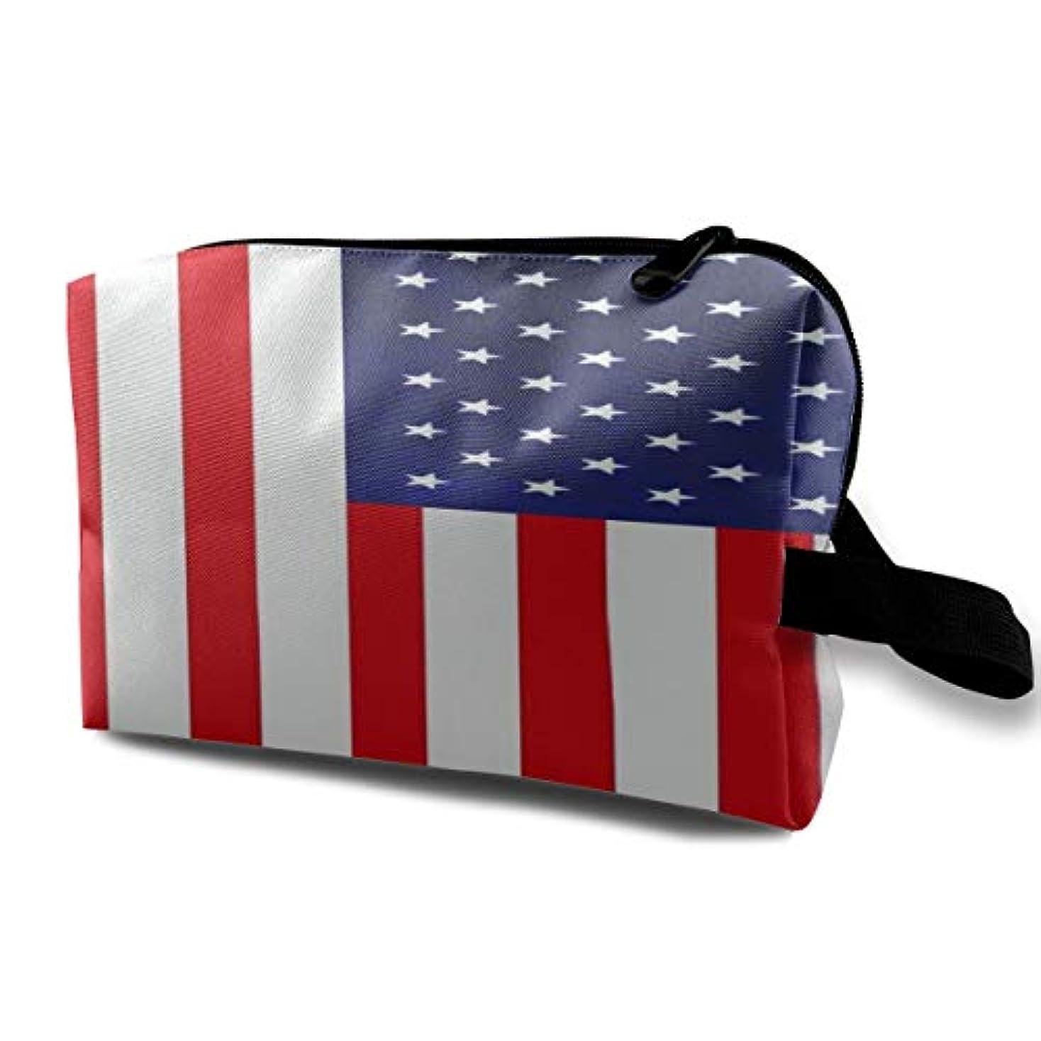 送金がっかりした日付American Flag 収納ポーチ 化粧ポーチ 大容量 軽量 耐久性 ハンドル付持ち運び便利。入れ 自宅?出張?旅行?アウトドア撮影などに対応。メンズ レディース トラベルグッズ