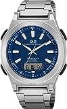 シチズン Q&Q 腕時計 アナログ 電波 ソーラー 防水 日付 表示 メタルバンド MD10-232 メンズ ブルー