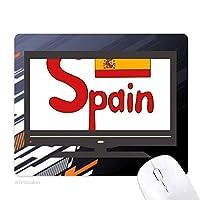スペインの国旗の赤いパターン ノンスリップラバーマウスパッドはコンピュータゲームのオフィス