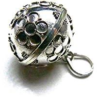 [Silver925]RainbowSpiritお花Flower模様のガムランボール:ジャワンタイプ(21mm)