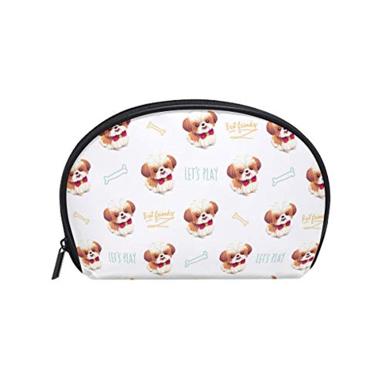 分配します維持するジョグ半月型 シーズー 犬 化粧ポーチ コスメポーチ コスメバッグ メイクポーチ 大容量 旅行 小物入れ