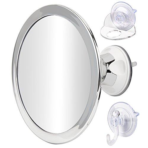 Gotofine 曇らないミラー 防曇鏡 風呂鏡 くもり止め鏡 強力吸盤付き 角度調整可能 丸型