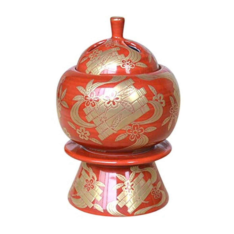 統合特性によって有田焼 朱巻金襴蒔絵 台付香炉(木箱付)【サイズ】高さ13.5cm