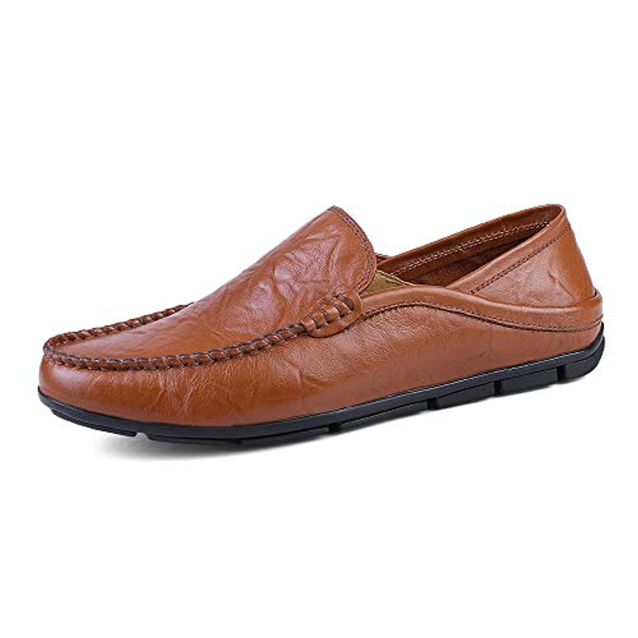 呼び起こす苦有力者メンズ 革靴 ファッション  モカシン ウェーブソール ソフト 軽量 スリッポン スリップ  ドライビングローファー 通気 (Color : 褐色, サイズ : 23.5 CM)