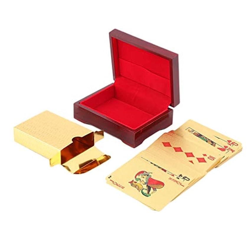 根絶する思いつくグラムゴールドメッキユーロパターントランプ24Kゴールドメッキフルポーカーデッキピュアクリスマスギフト110 * 80 * 40 mm - ゴールド
