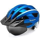 VICTGOAL 自転車ヘルメット 大人用 LEDライト付き サイズ調整可能 57-61cm 21通気穴 着脱バイザー 磁気ゴーグル 防虫ネット ロードバイクヘルメット 軽量 サイクルヘルメット 高剛性 安全 男女兼用 サイクリングヘルメット (メタルブルー)