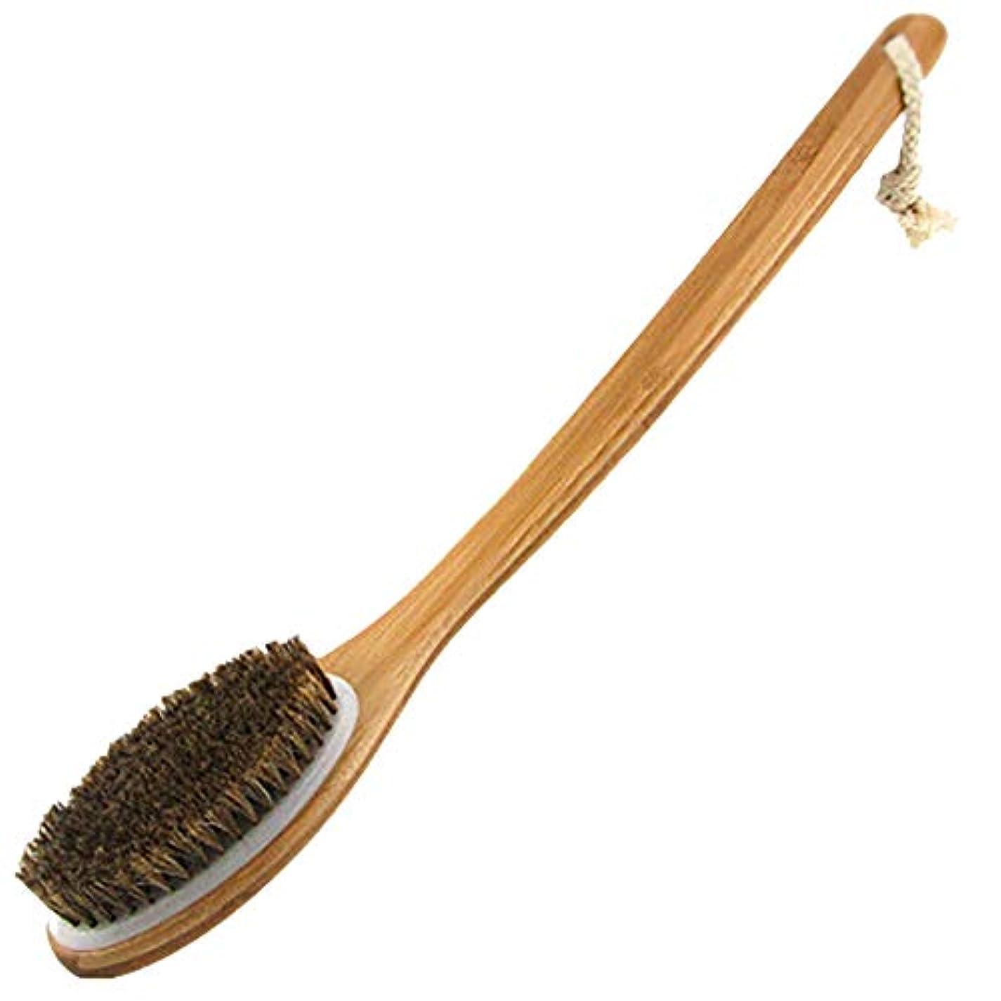 砂額Maltose 馬毛ボディブラシ 長柄曲柄 背中ブラシ お風呂用 体洗いブラシ 足洗い 角質除去 美肌